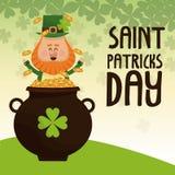 Saint patricks day leprechaun happy tossing gold pot lettering poster. Vector illustration eps 10 Stock Photography