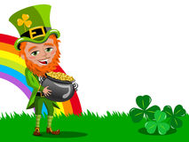 Saint Patricks Day Leprechaun Holding Pot of Gold frame isolated Royalty Free Stock Photography