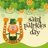 Saint patricks day leprechaun with horseshoe gold lettering poster. Vector illustration eps 10 stock illustration
