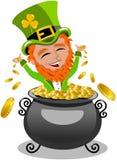 Saint Patrick Day Leprechaun Inside Pot of Gold Royalty Free Stock Image