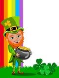 Saint Patricks Day Leprechaun Pot of Gold frame isolated Stock Image