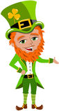 Saint Patricks Day Leprechaun Presenting Stock Photography