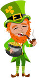 Saint Patricks Day Leprechaun Smoking Gold Pot. Illustration featuring St. Patricks or Saint Patrick s smoking and holding the legendary pot of gold at the end Stock Photography