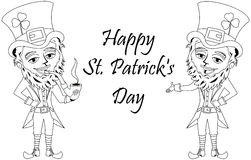 Saint Patricks Day Leprechaun Smoking Pipe Colouring Book Stock Photos