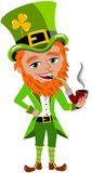 Saint Patricks Day Leprechaun Smoking Pipe Royalty Free Stock Images