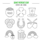 Saint Patricks Day line icons set. Royalty Free Stock Photography