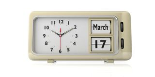 Saint Patricks day on old retro alarm clock, white background, isolated. 3d illustration. Saint Patrick s day, March 17 2019 date text on old retro vintage royalty free illustration