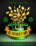Saint Patricks Day party poster. Saint Patrick`s Day party poster design, 17 March Feast of Saint Patrick celebration, club invitation with leprechaun hat with Royalty Free Stock Photography
