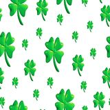 Saint Patricks day pattern with four leaf clover illustration. White background Royalty Free Stock Image