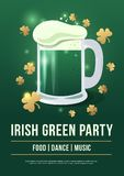 Saint Patricks Day. Poster of festive with symbols Irish holiday on green background. Beer mug with foam and gold clover. Vector illustration Stock Photo