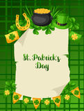 Saint Patricks Day poster. Flag, pot of gold coins, shamrocks, green hat and horseshoe Royalty Free Stock Photos
