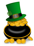 Saint Patricks Day Pot of Gold and Hat Stock Photography