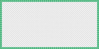 Saint Patricks Day rectangle border made of shamrocks. Clover with copy space isolated on transparent background. Vector illustration, template, banner, poster Stock Photo