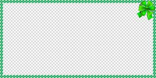 Saint Patricks Day rectangle bordering with shamrocks, bow. And copy space for text on transparent background. Vector illustration, template, banner, poster Royalty Free Stock Photography