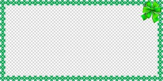 Saint Patricks Day rectangle bordering with shamrocks. Bow and copy space for text on transparent background. Vector illustration, template, banner, poster Royalty Free Stock Photo