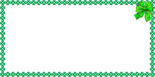Saint Patricks Day rectangle bordering with shamrocks, ribbon. And space for text on white background. Vector illustration, template, banner, poster, billboard Royalty Free Stock Photo