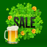 Saint Patricks Day SALE banner with clovers. Vector Saint Patricks Day SALE banner with clovers, golden coins and mug of beer Royalty Free Stock Image