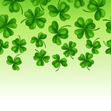Saint Patricks Day seamless border. Green clover shamrock and the four-leaf Royalty Free Stock Photo