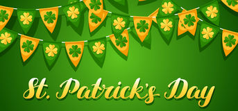 Saint Patricks Day seamless pattern. Garland flags with clover.  Stock Image