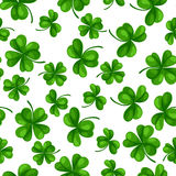 Saint Patricks Day seamless pattern. Green clover shamrock and the four-leaf Royalty Free Stock Photography