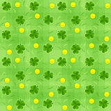 Saint patricks day shamrock and gold coins seamless background Royalty Free Stock Photo
