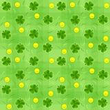 Saint patricks day shamrock and gold coins seamless background vector illustration