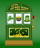 Saint Patricks Day slot machine. Slot machine with three symbols of Saint Patricks Day - shamrock, pot of gold and a top hat Royalty Free Stock Photos