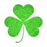 Saint Patricks Day symbol, glitter shamrock leaf isolated on white Royalty Free Stock Photo
