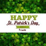Saint Patricks Day vector background, frame realistic shamrock leaves Royalty Free Stock Image