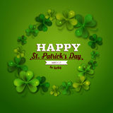 Saint Patricks Day vector background, frame with realistic shamrock leaves Royalty Free Stock Image