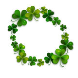 Saint Patricks Day vector background, frame with realistic shamrock leaves Stock Photography
