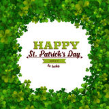 Saint Patricks Day vector background, frame with shamrock leaves, greeting card Stock Photography