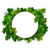 Saint Patricks Day vector background, frame with shamrock leaves Stock Photo