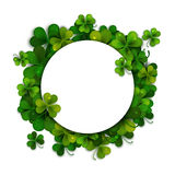 Saint Patricks Day vector background, frame with shamrock leaves Royalty Free Stock Images