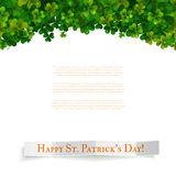 Saint Patricks Day vector background, shamrock leaves Stock Photos