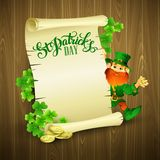 Saint Patricks day vector illustration with. Leprechaun EPS 10 Royalty Free Stock Images