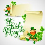 Saint Patricks day vector illustration with. Leprechaun EPS 10 Stock Illustration