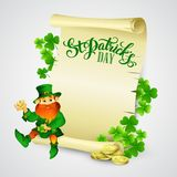 Saint Patricks day vector illustration with. Leprechaun EPS 10 Stock Photo