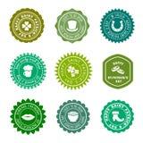 Saint Patricks Day vintage green vector badges, labels set. Saint Patricks Day vintage green badges, labels set. Vector illustration Royalty Free Stock Images