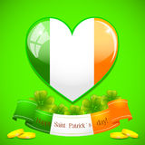 Saint Patricks heart of Irish flag with ribbon Royalty Free Stock Image