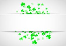 Shamrock background for Saint Patricks Day. Saint patricks paper badge with shamrock. Lucky trefoil confetti. Glitter frame of clover leaves. Template for gift Royalty Free Stock Photography