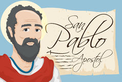 Saint Paul with Ancient Scroll with Spanish Text, Vector Illustration Stock Photos