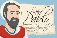 Saint Paul avec le rouleau antique avec le texte espagnol, illustration de vecteur illustration de vecteur