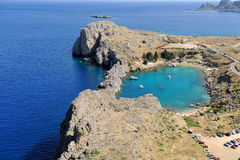 Saint Paul Bay from Lindos Rhodes island Royalty Free Stock Image