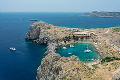 Saint Paul Bay near old town Lindos. Rhodes Greece Europe. Bay in the shape of a heart stock photography