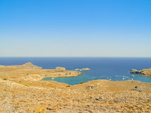 Saint Paul beach in Lindos, Greek Island of Rhodes. Saint Paul beach in Lindos on the Greek Island of Rhodes stock photography