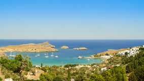 Saint Paul beach in Lindos, Greek Island of Rhodes. Saint Paul beach in Lindos on the Greek Island of Rhodes royalty free stock photography