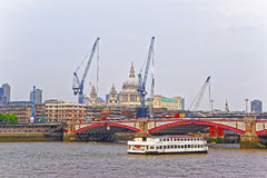 Saint Paul Cathedral and Blackfriars Bridge in London. Saint Paul Cathedral and Blackfriars Bridge on Northern Bank of River Thames in London, UK. Saint Paul Stock Photo