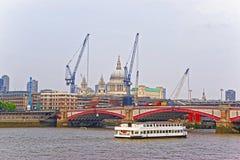 Saint Paul Cathedral and Blackfriars Bridge in London Stock Photo