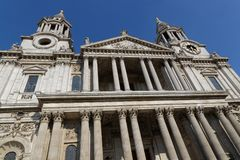 Saint Paul Cathedral facade. The Saint Paul Cathedral West facade and columns, in London city center Royalty Free Stock Images